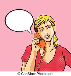 meisje, het spreken op de telefoon