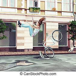 meisje, het vallen, fiets, haar, van