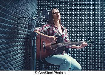 meisje, het zingen