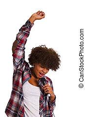 meisje, het zingen, vrijstaand, op wit, achtergrond