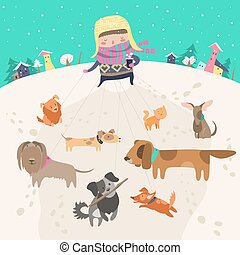meisje, honden, dog-walker, walk., boeiend, troep