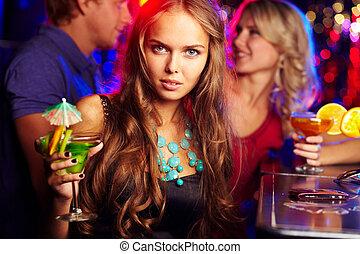 meisje, in, bar