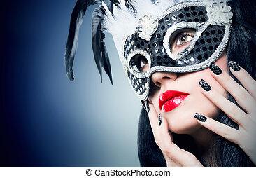 meisje, in, black , kermis masker, met, manicure