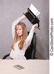 meisje, in, de, irritatie, gooien, de, typemachine