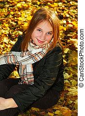 meisje, in, een, herfst, park