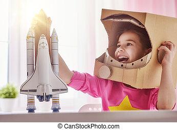 meisje, in, een, ruimtevaarder, kostuum