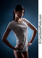 meisje, in, een, t-shirt