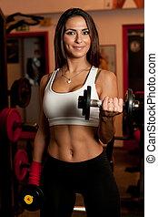 meisje, in, fitnessclub