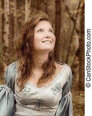 meisje, in, middeleeuws, jurkje, in, herfst, hout