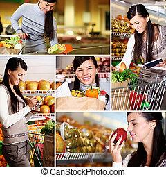 meisje, in, supermarkt