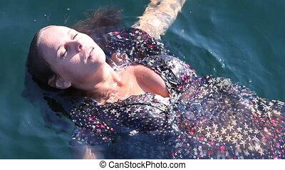 meisje, in, water