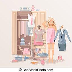 meisje, inbouwkast, kleren