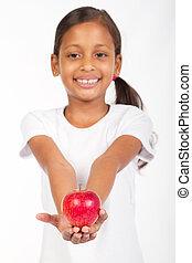 meisje, indiër, appel, vasthouden, rood