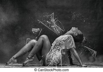 meisje, jonge, afro, sensueel, dancing, pose.