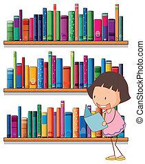 meisje, jonge, lezende , bookshelves, het glimlachen, voorkant
