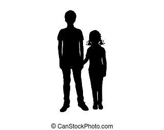 meisje, jongen, silhouettes, holdingshanden