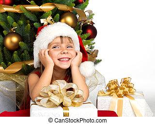 meisje, kado, boompje, mooi, cristmas