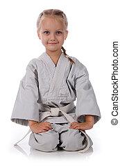 meisje, -, karateka, in, kimono