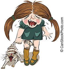 meisje, kat, tortures, het schreeuwen