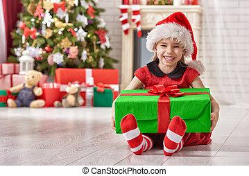 meisje, kerstkado, vasthouden