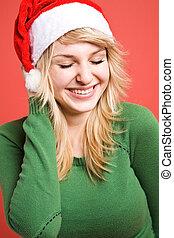 meisje, kerstman, vrolijke