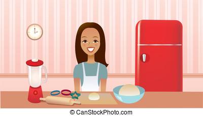 meisje, keuken