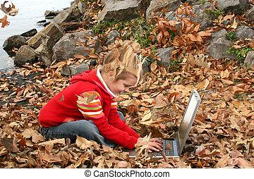 meisje, kind, computer