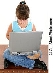 meisje, kind, draagbare computer