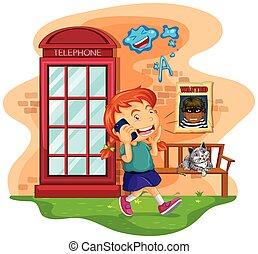 meisje, klesten, op, de, mobiele telefoon