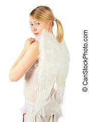 meisje, kostuum, engel, gedraaide, back
