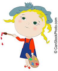 meisje, kunstenaar, schilderij, schattig