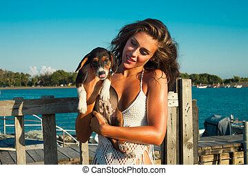 meisje, kust, puppy
