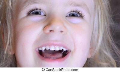 meisje, lachen, kindergarten., baby, plezier, hebben