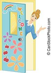 meisje, leraar, welkom, klaslokaal, illustratie