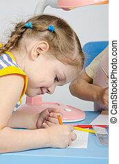 meisje, les, tekening