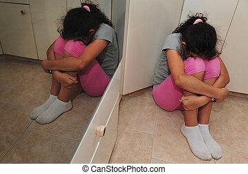 meisje, lijdt, huiselijk, jonge, violence