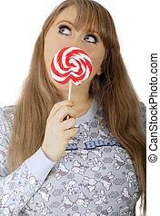 meisje, lollipop, mond, konijntje, bedekking