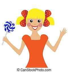 meisje, lollipop, vrolijk, hand