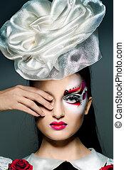 meisje, makeup, zich verbeelden