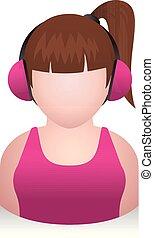meisje, mensen, -, avatar, iconen