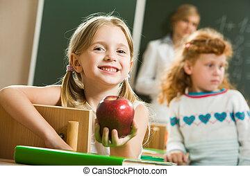 meisje, met, appel
