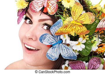meisje, met, bloem, en, flower.