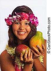 meisje, met, bloem, lei, en, fruit