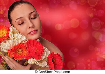 meisje, met, bloemen
