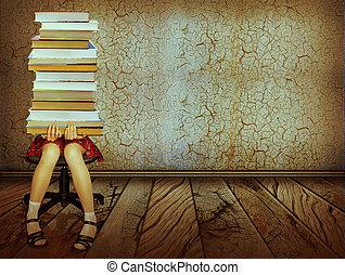 meisje, met, boekjes , zittende , op, houtenvloer, in, oud, donker, room.grunge, collage, achtergrond