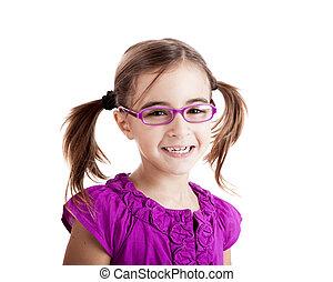 meisje, met, bril