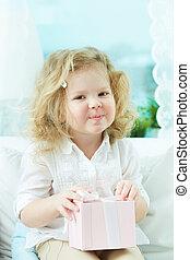 meisje, met, cadeau