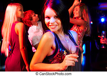 meisje, met, champagne