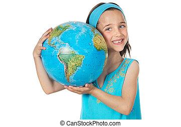 meisje, met, een, globe, van, de wereld