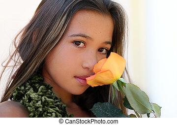 meisje, met, een, roos